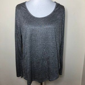Grey Long Sleeve Wide Neck Comfy Tee XL 2X 3X NWOT